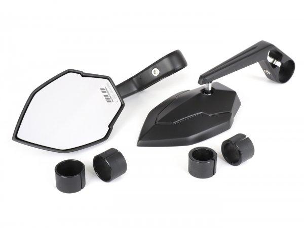 Spiegel-Set -MOTO NOSTRA 1403- Lenkerenden- Aluminium- matt schwarz eloxiert- E-Kennzeichnung