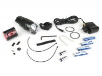 Fahrradscheinwerfer - Fahrradlampen Set Batterie LED -IXON IQ Front + IXBACK senso  mit Akkus und Ladegerät- 40 LUX