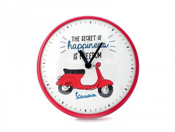 "Horloge murale rond -VESPA Ø=25cm- Vespa Primavera ""The secret of happiness is freedom"""
