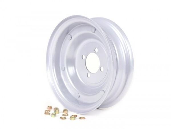 Wheel rim -OEM QUALITY 2.10-8 inch, steel - Vespa (type 4 inner holes) - Wideframe V1-15, V30-33, VU, VM, VN, VNA, VNB, VB, VBA, VBB, Hoffmann, ACMA - grey