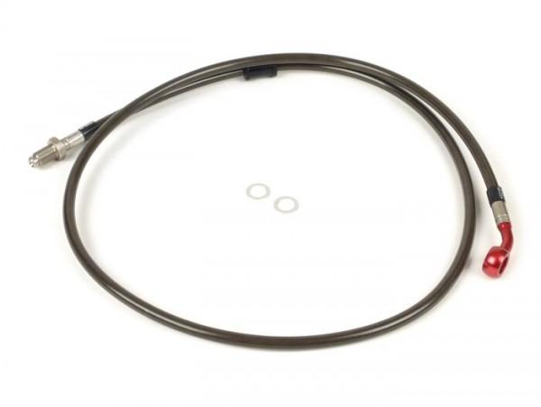 Bremsleitung vorne zur original Bremszange -SPIEGLER Leitung:  Edelstahl (carbon), Fitting: Aluminium (rot)- Vespa (mit ABS) GTS 125i.e. Super ABS (ZAPM45300, ZAPM45301), Vespa GTS 300 ABS (ZAPM45200, ZAPM45202), Vespa GTS 300i.e. Super