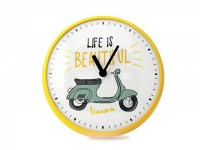 "Wall clock round -VESPA Ø=25cm- Vespa Primavera ""Life is beautiful"""