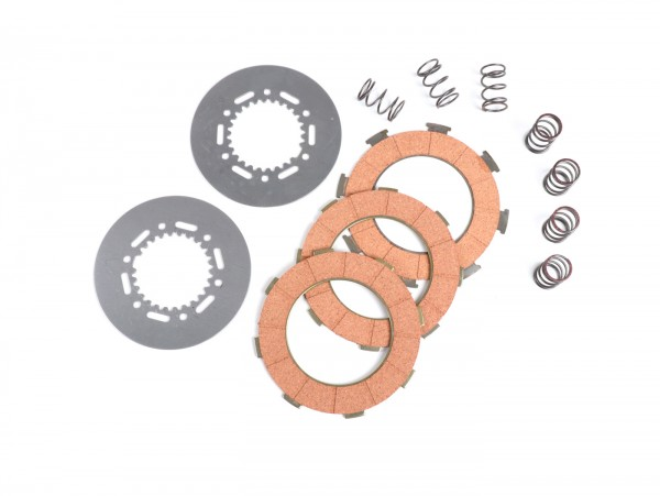 Clutch friction plate set -BGM ORIGINAL type 7 springs (Vespa Rally200, PX200, T5 125cc)- 3 plates premium quality (incl. springs and steel plates)