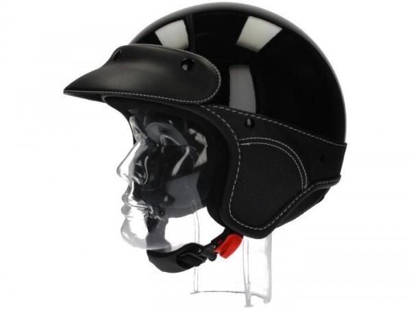 Helm -NEW MAX, Elegance Jethelm- schwarz glänzend - XXS (51-52 cm)