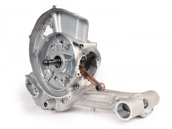 Cárter del motor -MALOSSI VR-One, entrada de diafragma, incl. cigüeñal eje King carrera 64mm, biela 110mm para Quattrini M1X/M1XL, BGM177- Vespa PX80, PX125, PX150, LML Star/Stella 125/150 Elestart