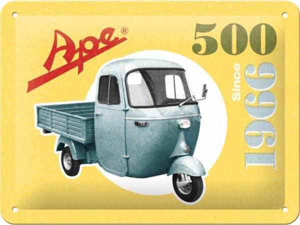 "Advertising sign -Nostalgic Art- Ape ""Ape 500 Since 1966"", 15x20cm"