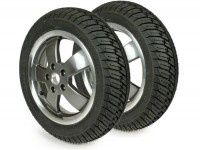 """Komplettrad-Set Winterreifen -MICHELIN City Grip Winter M+S 120/70 - 12 TL 58P rf. + 130/70 - 12 TL 62P rf.- Vespa GT, GTL, GTS 125-300, GTV - Modelle ohne ABS - Felgen """"70 Jahre"""" bicolor"""
