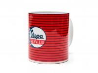 Tasse - Kaffeebecher -FORME- Vespa, Servizio - rot gestreift