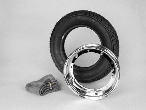Reifen komplett Set -VESPA MICHELIN S83- 3.50 - 10 Zoll TL 59J (reinforced) - Felge 2.10-10 Chrom