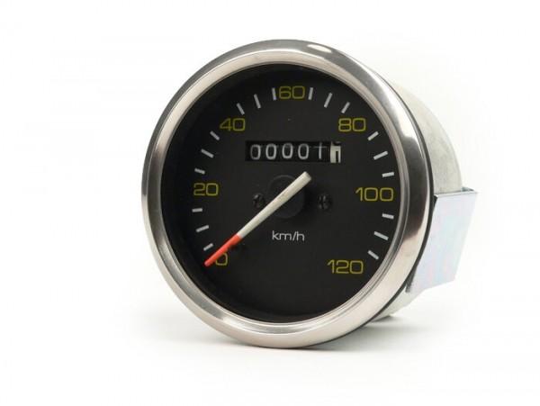 Cuentakilómetros -CALIDAD OEM- Vespa Ø=85mm - PX alt (hasta el año 1984) - 120km/h - cromo