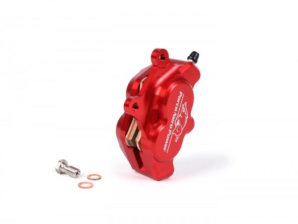Bremszange vorne (mit TÜV Gutachten) -PORCO NERO POWER CNC by Spiegler 4-Kolben, Ø=25/29mm- Vespa GT/GTS/GTV 125-300ccm (mit und ohne ABS) - rot anodisiert