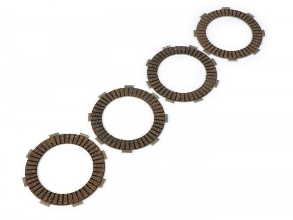 Clutch friction plate set -BGM PRO TOURING Alu- type Honda CR80 suitable for standard clutch basket of Vespa Cosa2/FL (1992-), PX (1995-), Superstrong, Scooter & Service, MMW, Ultrastrong - 4 plates