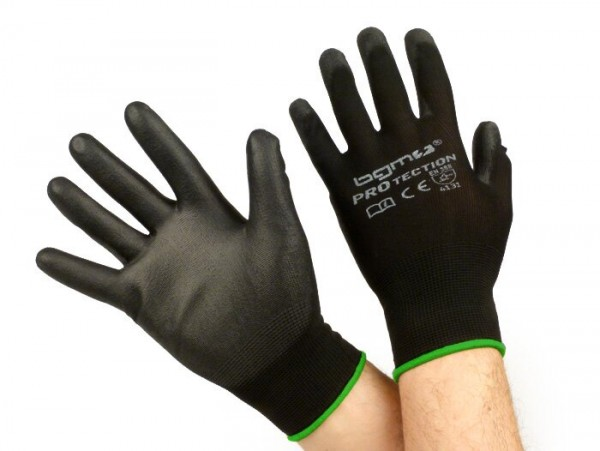 Work gloves - mechanics gloves - protective gloves -BGM PRO-tection- seamless knitted gloves, 100% nylon with polyurethan coating - size M (8)