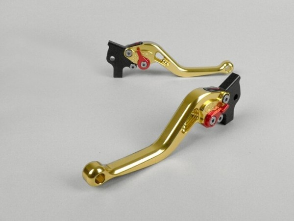 Bremshebel-Set -EINSTELLBAR Sport- Peugeot DD (AJP Bremsanlage) - Gelb