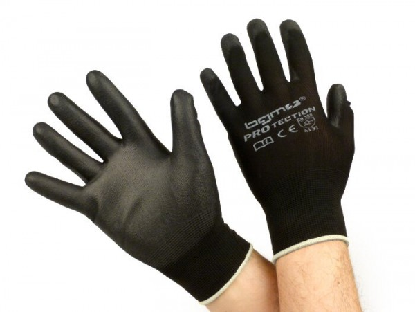 Work gloves - mechanics gloves - protective gloves -BGM PRO-tection- seamless knitted gloves, 100% nylon with polyurethan coating - size XS (6)