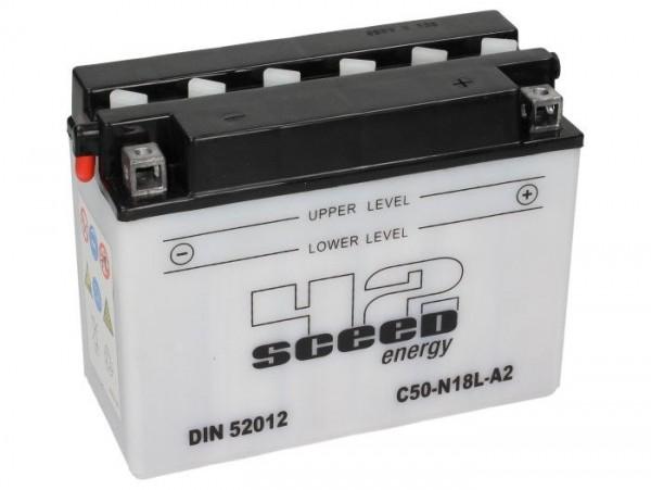Batería -Standard SCEED 42 Energy- C50-N18L-A2 (A3) - 12V, 20Ah - 160x91x206mm - ácido incl.