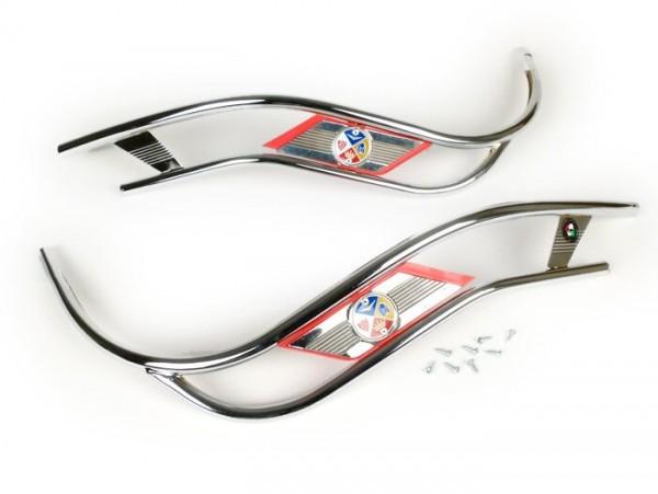 Bordón doble escudo -AMS CUPPINI- Vespa PX80, PX125, PX150, PX200 - cromo