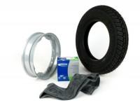 Reifen komplett Set -LAMBRETTA MICHELIN City Grip Winterreifen M+S- 3.50 - 10 Zoll TL/TT 59J (reinforced)- Felge 2.15-10 Grau