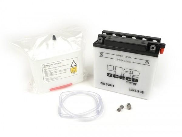Battery -Standard SCEED 42 Energy- 12N5,5-3B- 12V 5,5Ah - 135x60x130mm -with acid- Vespa P-range (-1984) - PX80, PX125, PX200, PK50 automatic, Typhoon80