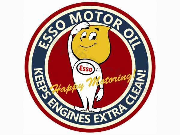"Aufkleber -Ø 84mm- ""Esso Happy Motoring"""