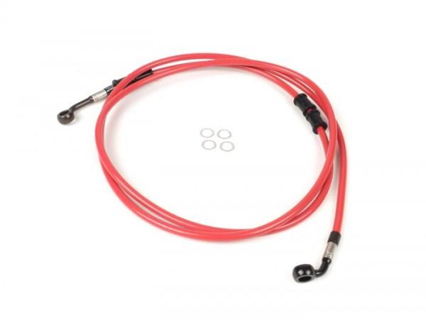 Tubería freno trasero para pinza de freno original -SPIEGLER latiguillo: acero inoxidable (rojo), racores: aluminio (negro)- Vespa (sin ABS) GTS 250 (ZAPM451), GTS 125 i.e. (ZAPM453), GTS 300 i.e. (ZAPM452)