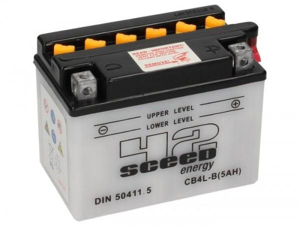 Battery -Standard SCEED 42 Energy- CB4L-B - 12V, 5Ah - 93x71x121mm (with acid)