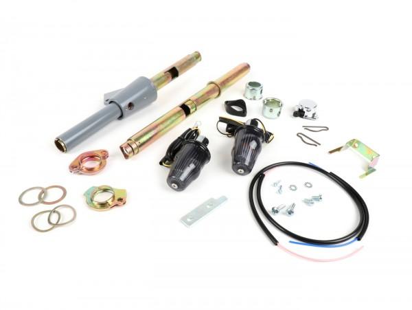 Blinker Nachrüst-Set für Lenkerendenblinker (Schaltrohr/Gasrohr-Set inkl. Lenkerblinker und Innenrohre) -MOTO NOSTRA, LED , mit E-Kennzeichnung, 6 Volt- Vespa Rally, Sprint, TS, GT, GTR, GL150, SS180, PV125, ET3 - Ø=24mm - Schwarz