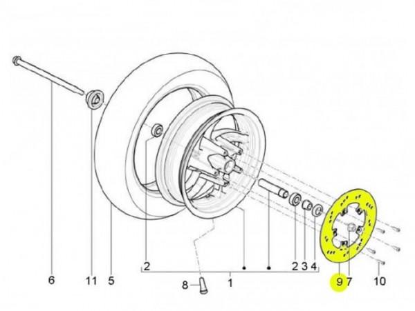 Bremsscheibe -PIAGGIO Ø190x58mm 4o- New TPH (ab Bj. 2010) (LBMC501, LBMM701, ZAPM501) (v)