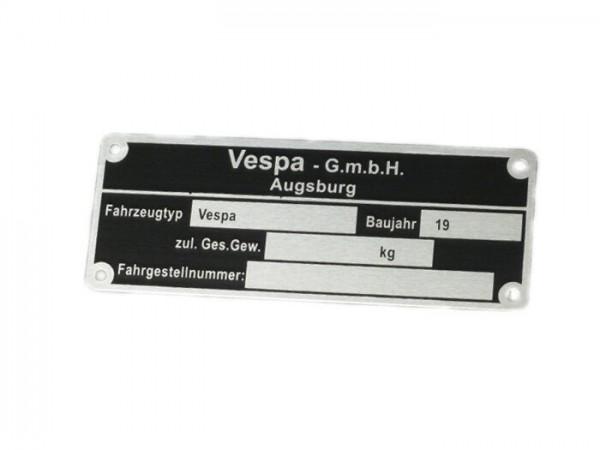Typenschild -OEM QUALITÄT- Vespa GmbH Augsburg (80x30x0,5mm) - eckig