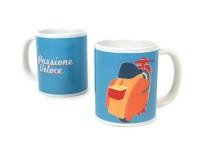 Mug -PASSIONE VELOCE, 325ml (11 fl oz)- Vespa - blue- (no dishwashers / hand wash recommended)