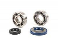 Bearing and oil seal set for crankshaft -PIAGGIO- Vespa V50, PV125, ET3, PK50S, PK80S, PK125S - 1x 6303 + 1x 6204