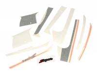 Sticker set for front legshield, mudguard and rear -PIAGGIO Sport- Vespa GTS Super, Super Sport 125-300 - anthracite/orange