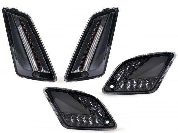 Blinker-Set vorne+hinten -MOTO NOSTRA (2014-2018) dynamisches LED Lauflicht, Tagfahrlicht vorne + Positionslicht hinten (E-Prüfzeichen)- Vespa GT, GTL, GTV, GTS 125-300 - smoked