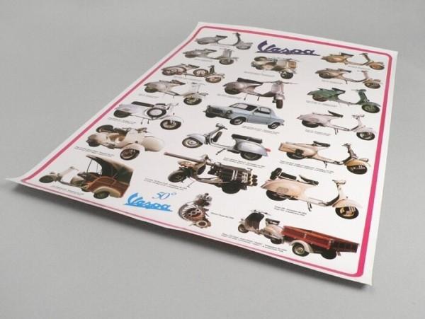 Poster -VESPA 50°- compendio modelli - 900mm x 600mm