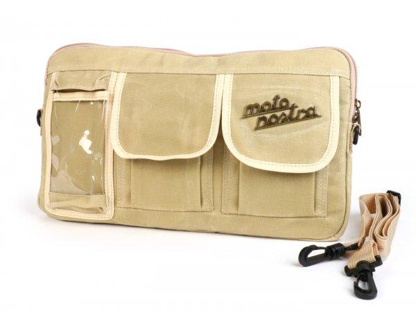 Tasche für Gepäckfachklappe / Umhängetasche (inkl. Handytasche (bis 6,2 Zoll, z.B. iPhone 11)) -MOTO NOSTRA Classic 'waxed canvas'- passend für z.B. Vespa, Lambretta, GTV, GTS, HPE, Supertech, Touring - beige