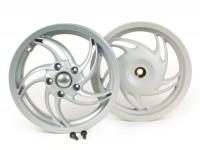 Felgen-Set -PIAGGIO 3.00-12 Zoll - 10 Speichen- Typ Fly - passend für Vespa Sprint 50 (ZAPC53101), Sprint 125, Sprint 150, Primavera 50 (ZAPC53100), Primavera 125, Primavera 150 - silber