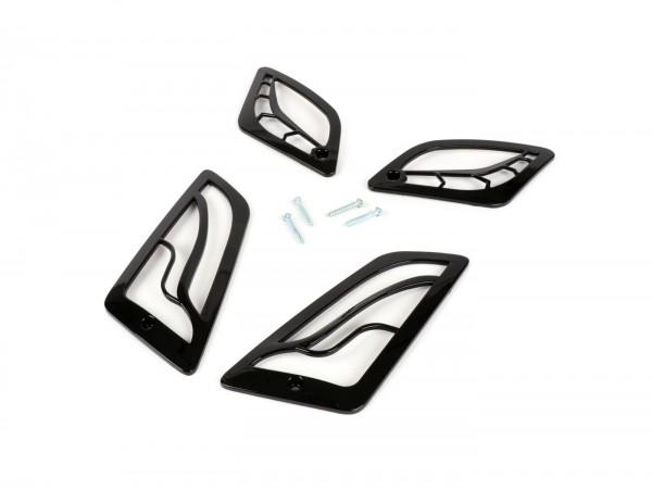 Kit rejillas intermitentes -MOTO NOSTRA- Vespa GT, GTL, GTV, GTS 125-300 - negro brillante