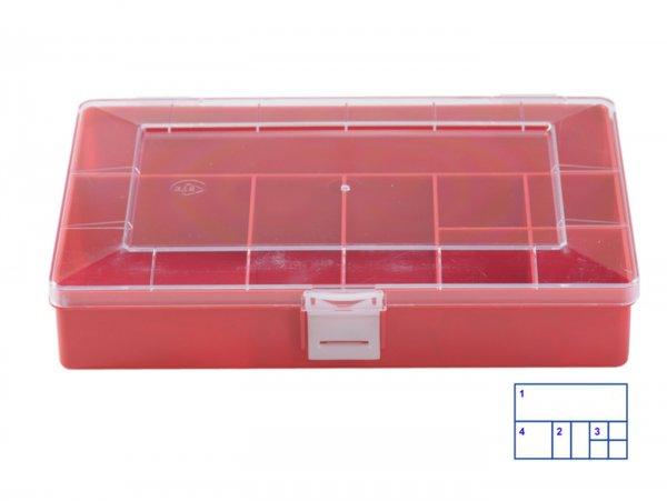 Sortierkasten -HÜNERSDORFF, Compact (170x250x46mm)- 8 Fächer, rot, Polystyol