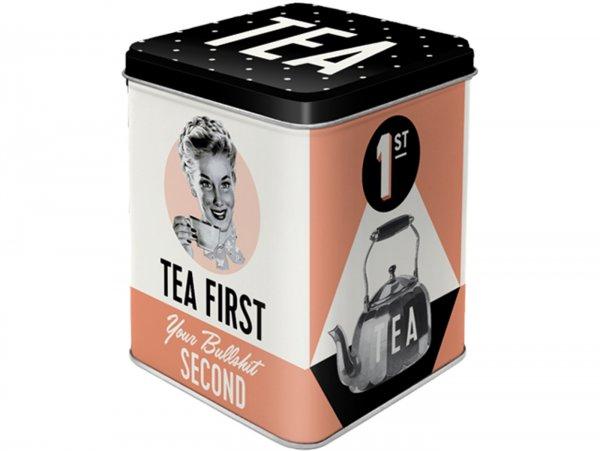 "Tea box -Nostalgic Art- ""Tea First"", 7,5 × 7,5× 9,5cm"