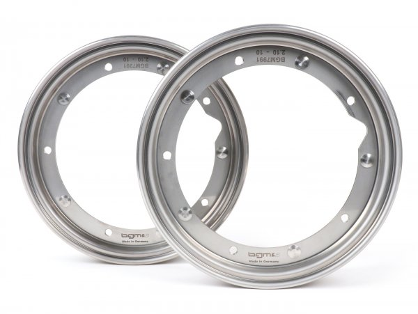 Pair of wheel rims -BGM PRO 2.10-10 inch- Vespa (type PX) - stainless steel