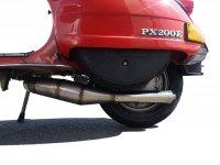 Escape -JL Performance, compatible con rueda de recambio puesta- Vespa PX80, PX125, PX150 - 166cc, 177cc - acero inoxidable