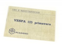 Owner's manual -VESPA- Vespa 125 Primavera (1968)