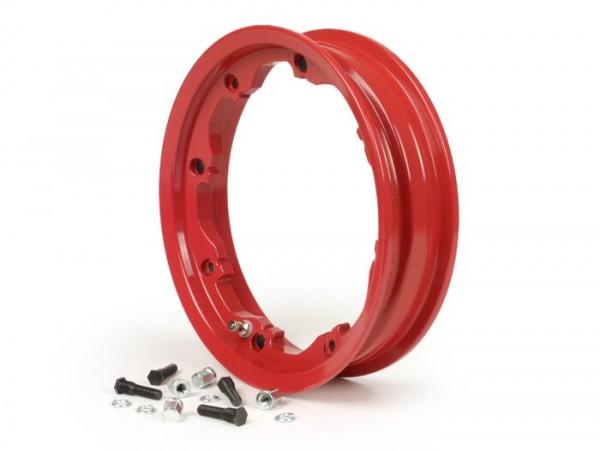 Llanta -FA ITALIA, sin cámara, Octopus, 2.10-10 pulgadas, aluminio- Lambretta LI (series 1-3), LIS, SX, TV (serie 2, serie 3) - rojo