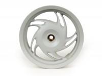 Cerchio ruota posteriore, freno a tamburo -PIAGGIO 3.00-12 pollici- Piaggio Fly 50 (RP8C52100, RP8C52300), Fly 125 (RP8M77110, RP8M79100)- argento
