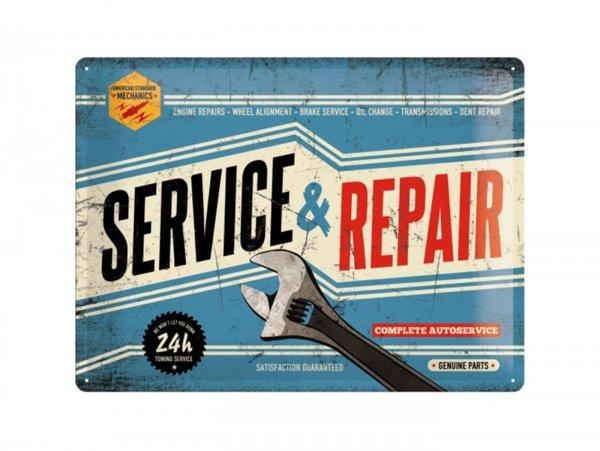 """Reklameschild -Nostalgic Art- """"Service & Repair"""", 30x40cm"""