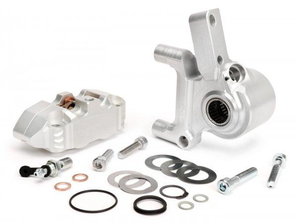 Bremszange vorne inkl. Bremszangenaufnahme -BGM PRO, CNC Touring, 4-Kolben, radiale Befestigung - Bremstrommel Typ LML- LML, Stella, Star - silbern