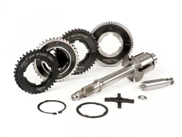 Gearbox (gear cogs incl. drive shaft) -BGM PRO- Vespa P-range (-1984) - PX125 (VNX1T, 146314-VNX2T, 232052), PX150 (VLX1T 264565-624601), PX200 (VSX1T, -315266), Rally180 (VSD1T), Rally200 (VSE1T) - 12/57, 13/42, 17/38, 21/36 teeth - 4th speed short