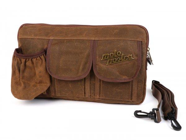 Tasche für Gepäckfachklappe / Umhängetasche (inkl. Getränkehalter) -MOTO NOSTRA Classic 'waxed canvas'- passend für z.B. Vespa, Lambretta, GTV, GTS, HPE, Supertech, Touring - braun