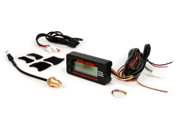 Cuentarrevoluciones - medidor de temperatura - horas de funcionamiento -MALOSSI- universal (69mm x 32mm x 16mm)