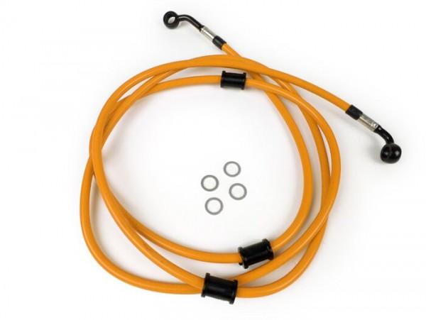 Bremsleitung hinten für Bremszange Brembo P32G, P34G, Frando -SPIEGLER Leitung: Edelstahl (orange), Fitting: Aluminium (schwarz)- Vespa GT 125 (ZAPM311), GT 200 (ZAPM312), GT L 125 (ZAPM311), GT L 200 (ZAPM312), GTS 125 (ZAPM313)